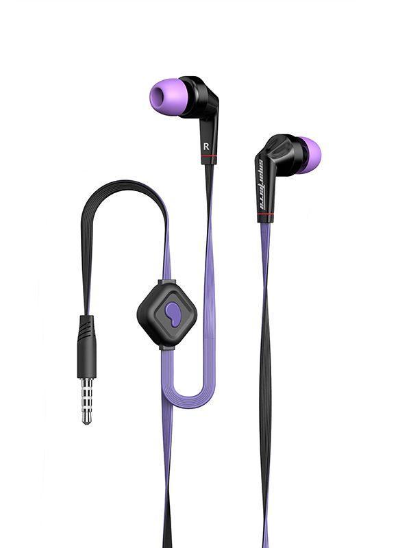 Наушники с микрофоном проводные вставные Smarterra XQ-100M, 20..20000Гц, кабель 1.2м, MiniJack, позолоченные контакты, плоский кабель, черный-фиолетовый