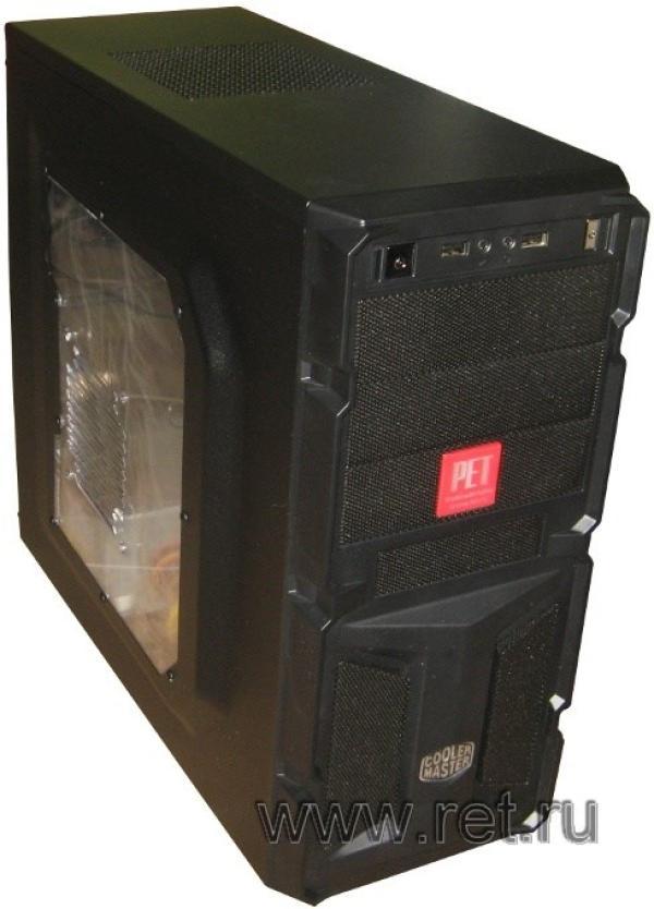 Компьютер РЕТ Эверест, AMD Ryzen 5 2400G 3.6/ A320 Звук LAN1Gb USB3.0/ DDR4 8GB/ Radeon Vega 11/ 1TB/ DVD-RW/ SD/ Coolermaster ATX 450Вт USB2.0 Audio черный