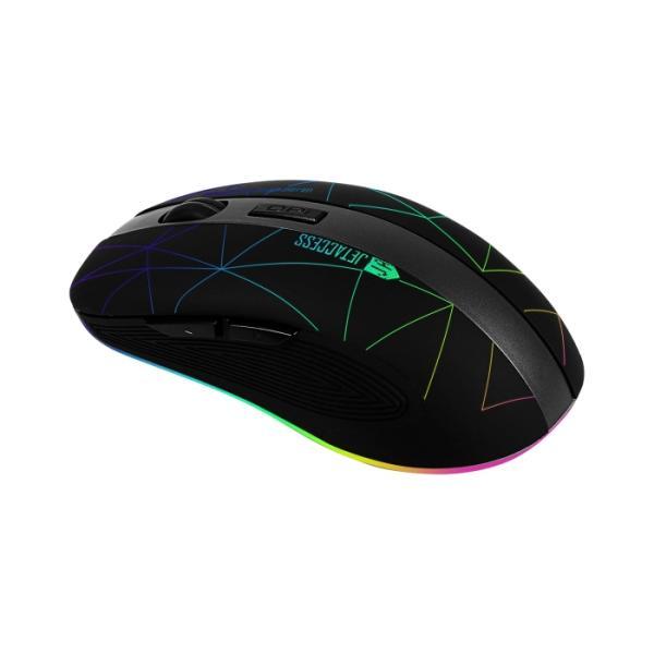Мышь беспроводная оптическая JETAccess OM-R53G LED, USB, 6 кнопок, колесо, FM 10м, 1600/1200/800dpi, подсветка, аккумулятор, черный