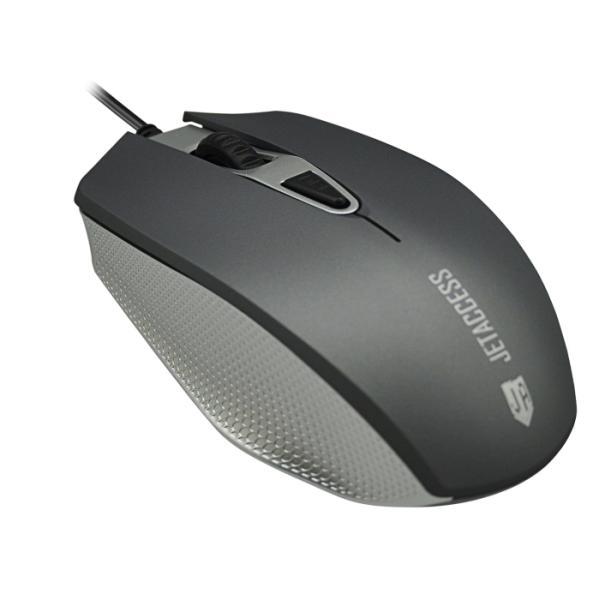 Мышь оптическая JETAccess Comfort OM-U60, USB, 4 кнопки, колесо, 1600/1200/800/400dpi, серый