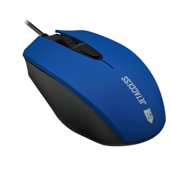 Мышь оптическая JETAccess Comfort OM-U60, USB, 4 кнопки, колесо, 1600/1200/800/400dpi, синий-черный