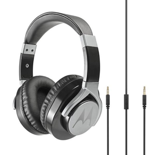 Наушники с микрофоном проводные дуговые закрытые Motorola PULSE MAX WIRED, 40мм, 18..23000Гц, кабель 1.2м, MiniJack, динамические, отсоединяемый кабель, черный