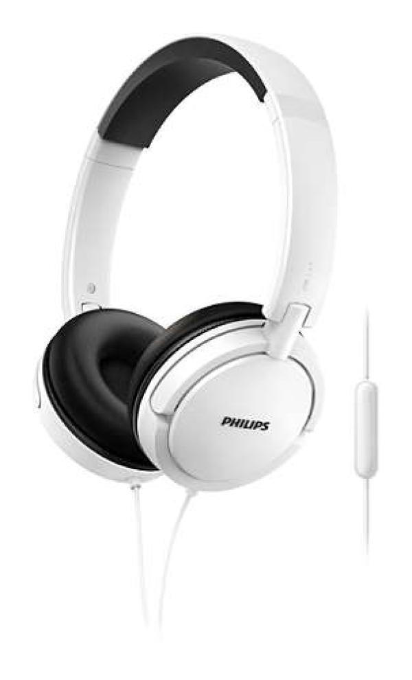 Наушники с микрофоном проводные дуговые закрытые Philips SHL5005WT/00, 32мм, 9..24000Гц, кабель 1.2м, MiniJack, складные, динамические, белый