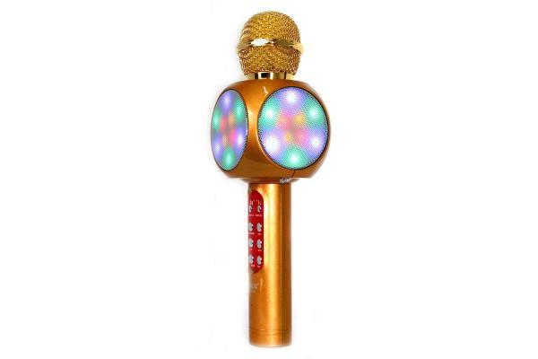 Микрофон караоке беспроводной WS1816 Gold, 5Вт, 100..10000Гц, Bluetooth 4.0/FM, MiniJack/MicroUSB/USB/MicroSD, Led подсветка/эффекты/запись, Li-ion/1800мАч/5ч, золотистый