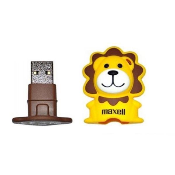 Флэш-накопитель USB2.0   8GB Maxell ANIMAL COLLECTION LION, 8/5MB/s, желтый