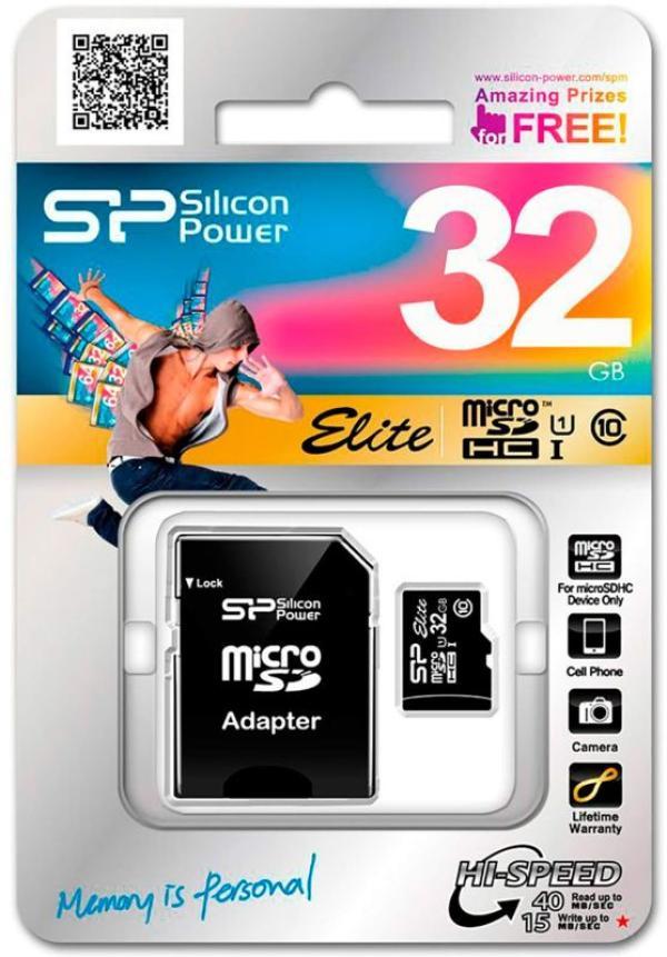 Карта памяти SDHC-micro (TransFlash) 32GB Silicon Power SP032GBSTHBU1V10SP, 40/15МБ/сек class 10,  UHS-I, с адаптером SD