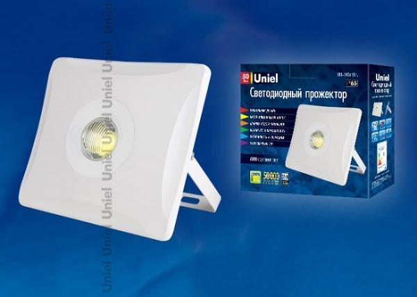 Прожектор светодиодный Uniel ULF-F11-50W/DW IP65 180-240В WHITE, 1 светодиод, 220В, 50Вт, 4300Лм, 50000ч, дневной белый, 6000К, IP65