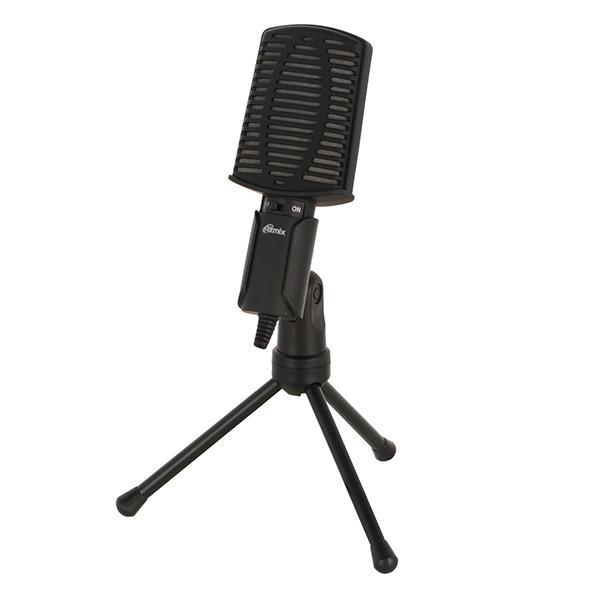 Микрофон на подставке Ritmix RDM-125 Black, 50..16000Гц, кабель 1.8м, MiniJack, конденсаторный, подставка/крепление, черный