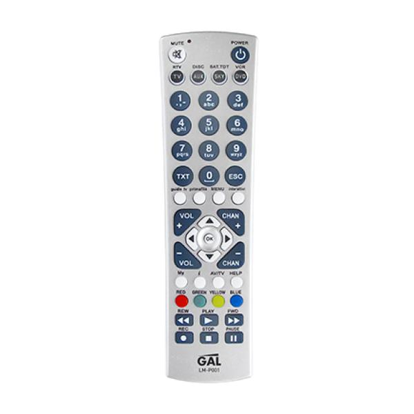 Пульт ДУ GAL LM-P 001, универсальный, ИК, на 4 устройства, 45 кнопок, 2*AAA, серебристый