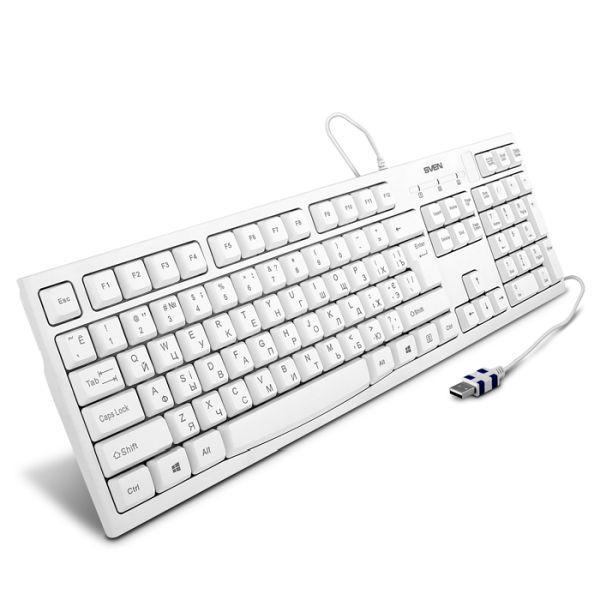 Клавиатура Sven KB-S300, USB, влагозащищенная, белый