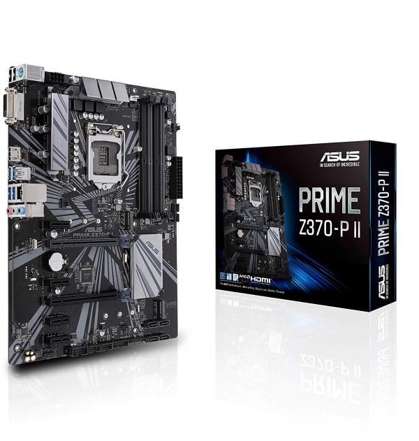 Материнская плата S1151v2 ASUS PRIME Z370-P II, Z370, 4*DDR4 3866 Dual Channel, 2*PCI-E3.0x16, 4*PCI-E3.0x1, DVI/HDMI, 4*SATAIII RAID(0,1,5,10), 2*M.2, Звук 7.1, 2*USB2.0/4*USB3.0, LAN1Gb, ATX
