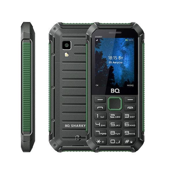 """Мобильный телефон 2*SIM BQ BQ-2434 SHARKY, GSM900/1800/1900, 2.4"""" 320*240, камера 0.08Мпикс, SDHC-micro, BT, диктофон,  MP3 плеер, пыле-влагозащищенный IP65, 59.5*130.5*27.8мм 141г, хаки-черный"""
