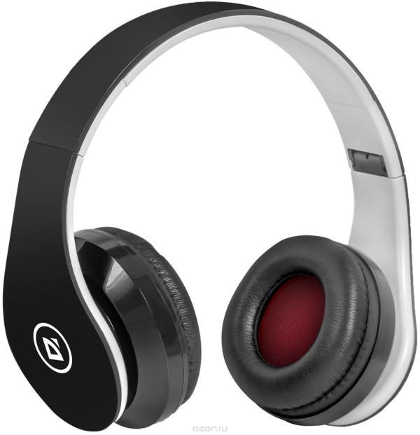 Наушники с микрофоном беспроводные BT дуговые закрытые Defender FreeMotion B550 черный, 20..20000Гц, Bluetooth 4.0, A2DP/AVRCP/HFP/HSP, microUSB/miniJack, регулятор громкости, 10ч, черный-белый