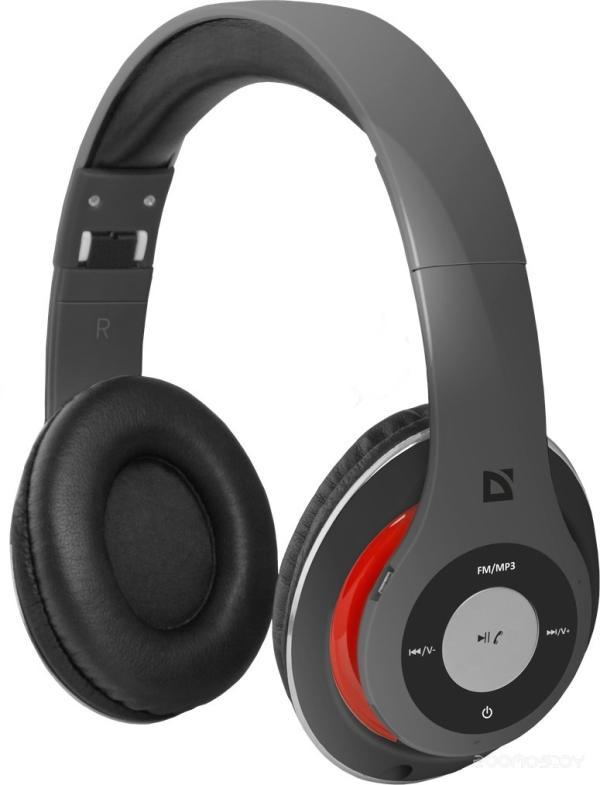 Наушники с микрофоном беспроводные BT дуговые закрытые Defender FreeMotion B570, 20..20000Гц, Bluetooth 4.0, MicroSD, microUSB/miniJack, регулятор громкости, FM радио, складные, 10ч, красный-серый
