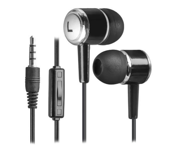 Наушники с микрофоном проводные вставные Defender Pulse 427, 20..20000Гц, кабель 1.2м, MiniJack, позолоченные контакты, черный