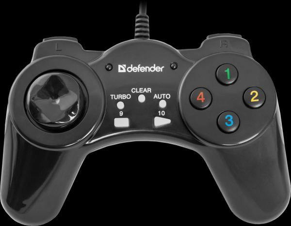 Игровой манипулятор GamePad для PC Defender Vortex, USB, 8 позиций, 9 кнопок, 4 курка, черный