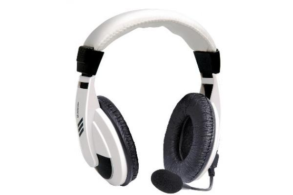 Наушники с микрофоном проводные дуговые закрытые Defender Gryphon 750, 40мм, 18..20000Гц, кабель 2м, 2*MiniJack, регулировка громкости, динамические, белый