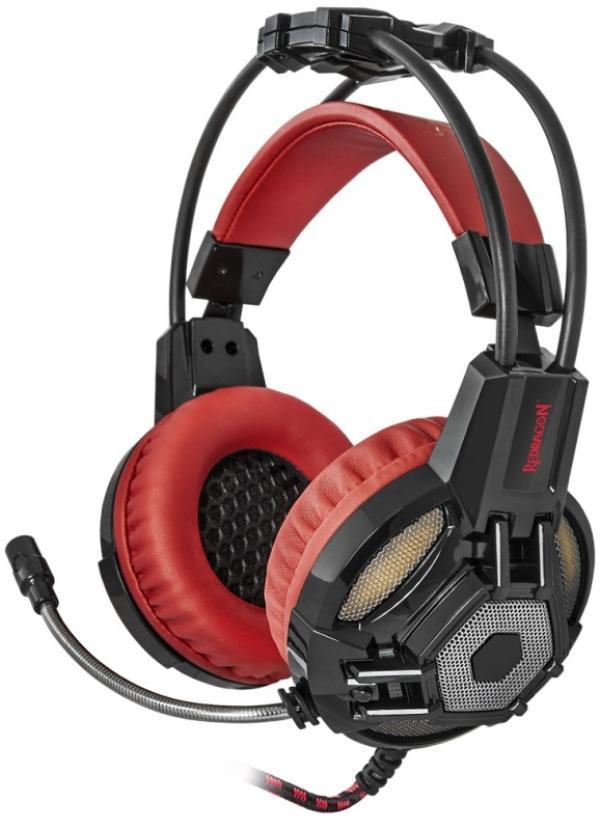 Наушники с микрофоном проводные дуговые закрытые Redragon Lester, 50мм, 20..20000Гц, кабель 2.2м, USB/2*MiniJack, регулятор громкости, подсветка, игровые, черный-красный